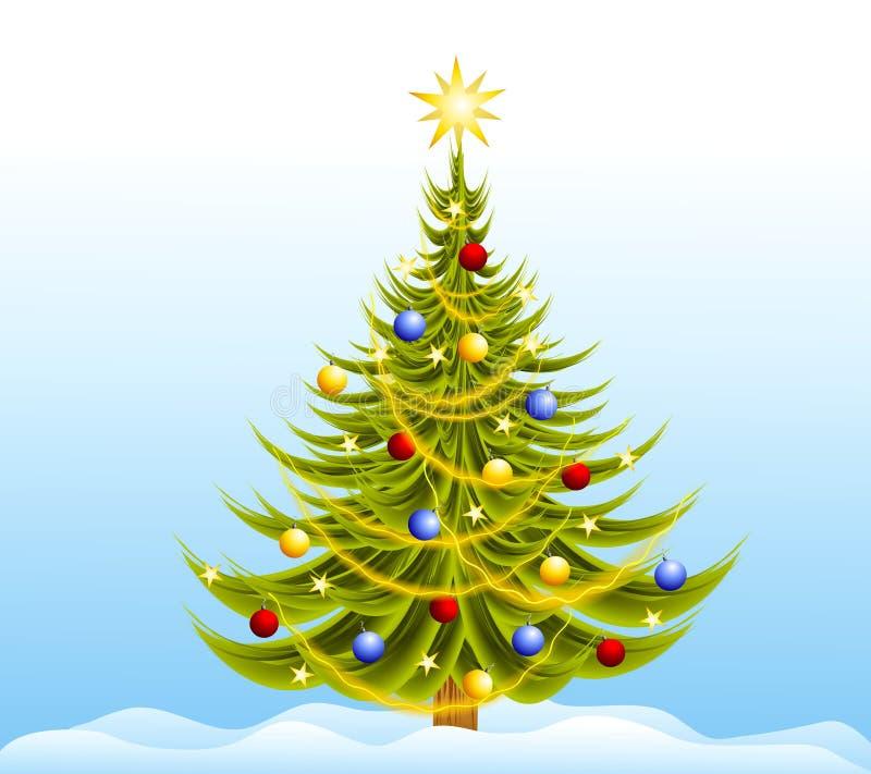 Neve decorata dell'albero di Natale illustrazione di stock