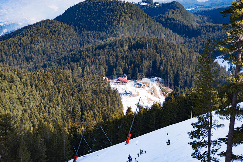 Neve della foresta della montagna del paesaggio di inverno immagini stock libere da diritti