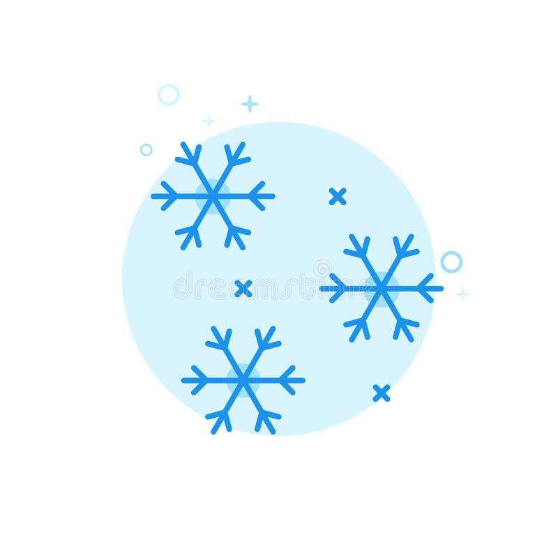 Neve di caduta, icona piana di vettore dei fiocchi di neve, simbolo, pittogramma, segno Progettazione monocromatica blu-chiaro Co royalty illustrazione gratis