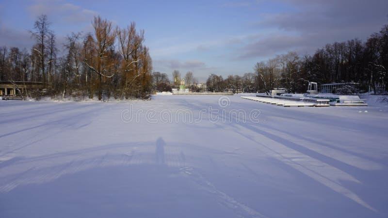 Neve di inverno nel parco di Gorkij immagine stock