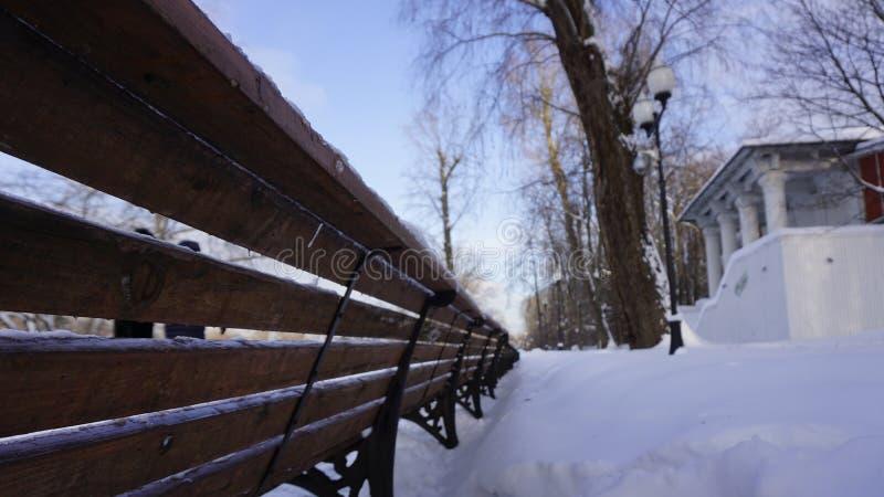 Neve di inverno nel parco di Gorkij immagini stock libere da diritti