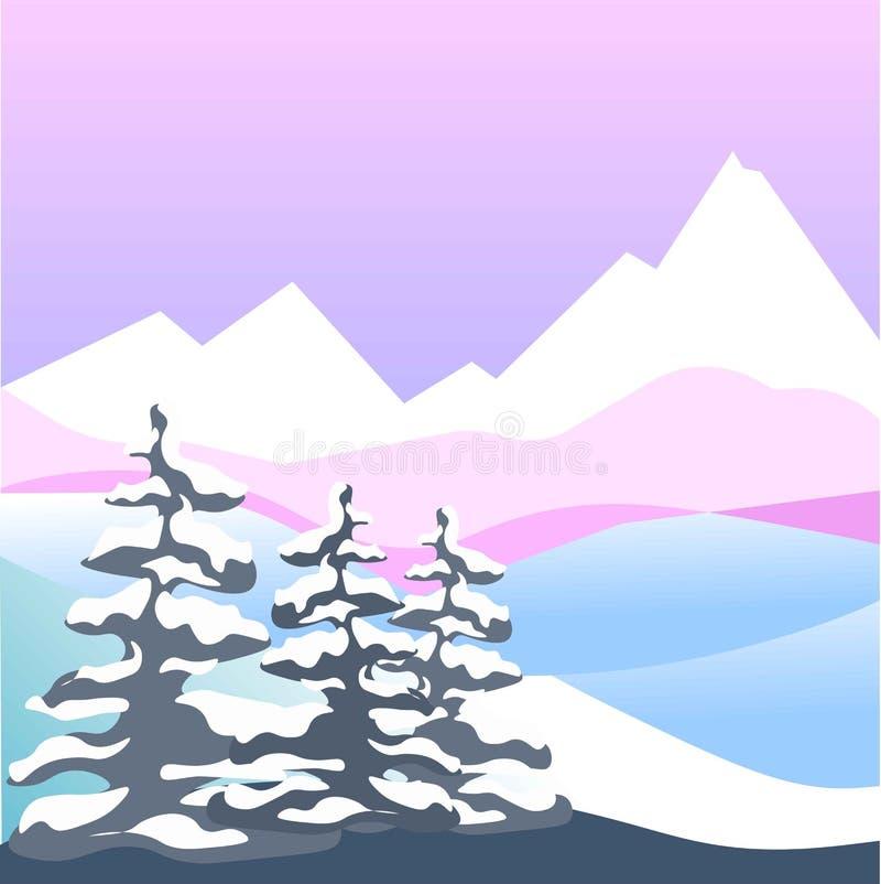 Neve di inverno paesaggio piano della foresta di quattro di stagioni della natura del paesaggio montagne di vettore royalty illustrazione gratis