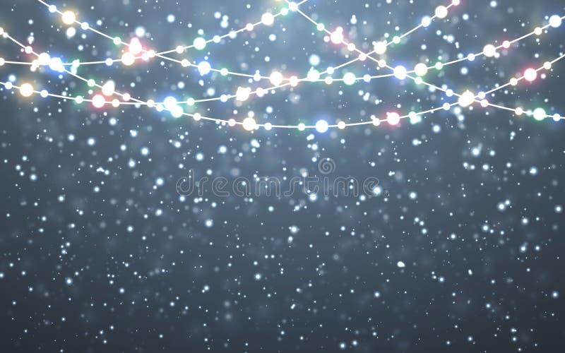 Neve di natale Fiocchi di neve bianchi di caduta su fondo scuro Ghirlanda di colore di natale, decorazioni festive Indicatori lum illustrazione vettoriale