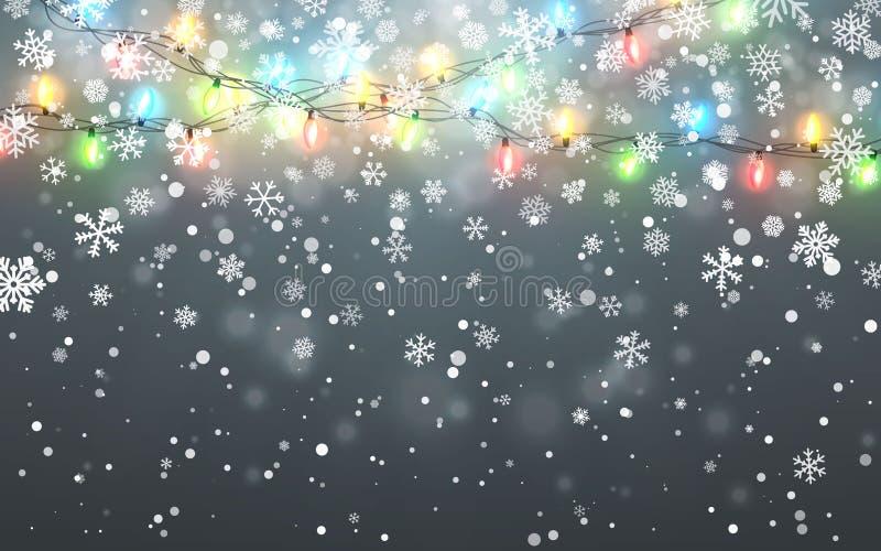 Neve di natale Fiocchi di neve bianchi di caduta su fondo scuro Ghirlanda di colore di natale, decorazioni festive Indicatori lum illustrazione di stock