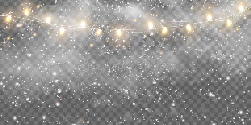 Neve in discesa, nebbia con lampadine di Natale isolate Il festival d'oro di Natale appeso a una lampada per royalty illustrazione gratis
