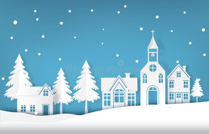 Neve do feriado de inverno que cai na ilustração do estilo da arte do papel da estação do Natal da vila ilustração royalty free