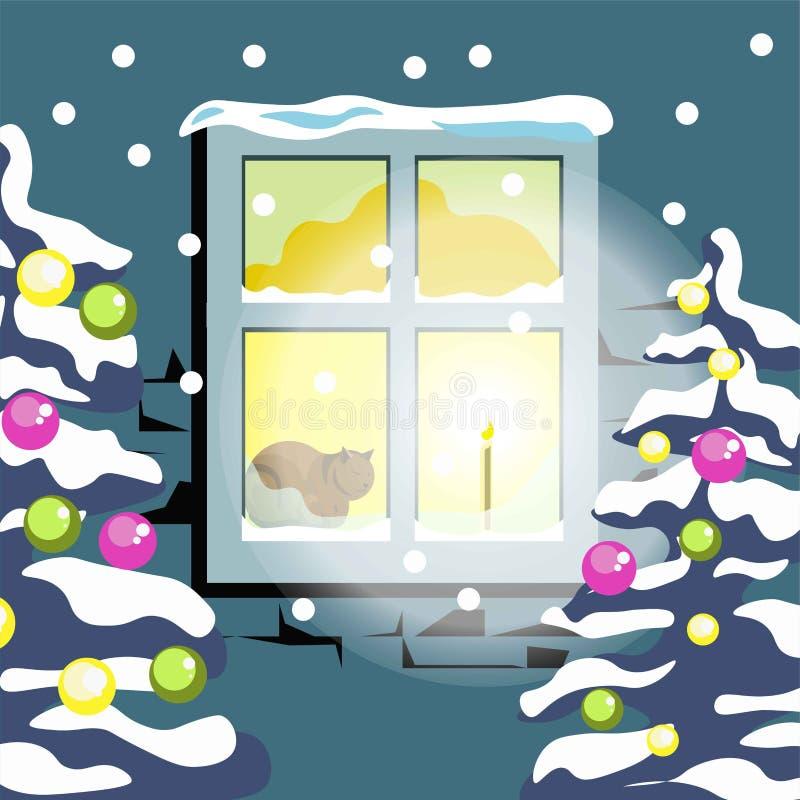 Neve do inverno cenário liso do frio da árvore de Natal do vetor da paisagem da natureza de quatro estações ilustração royalty free