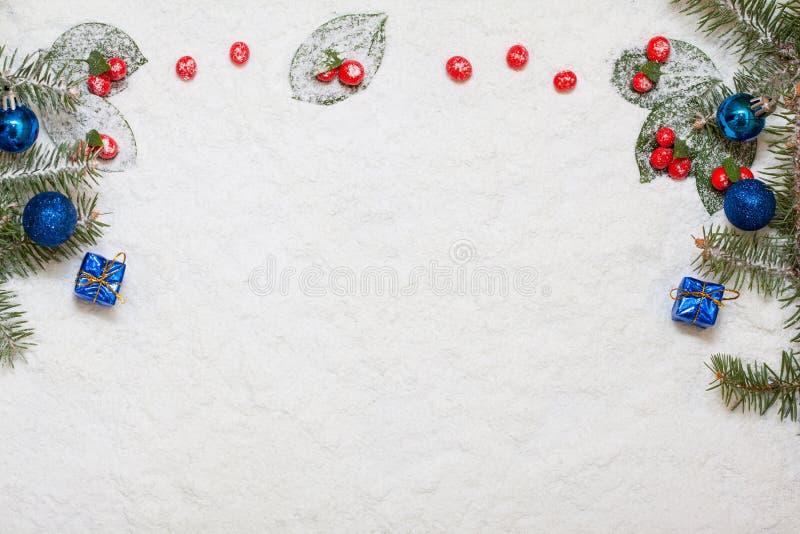 Neve do Natal com decoração fotos de stock