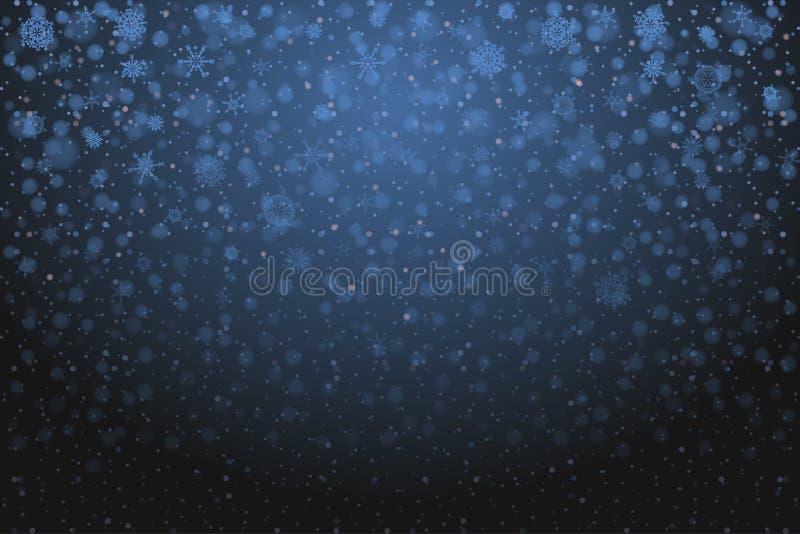 Neve do Natal Flocos de neve de queda no fundo azul profundo neve ilustração stock