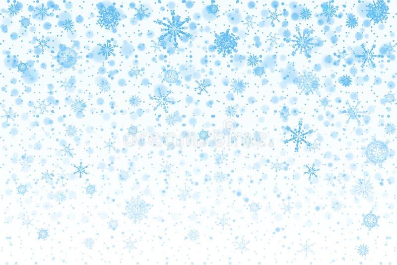Neve do Natal Flocos de neve de queda no fundo branco snowfall ilustração stock