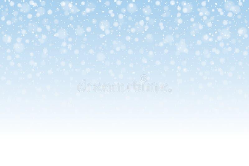Neve do Natal Flocos de neve de queda no fundo claro snowfall ilustração royalty free