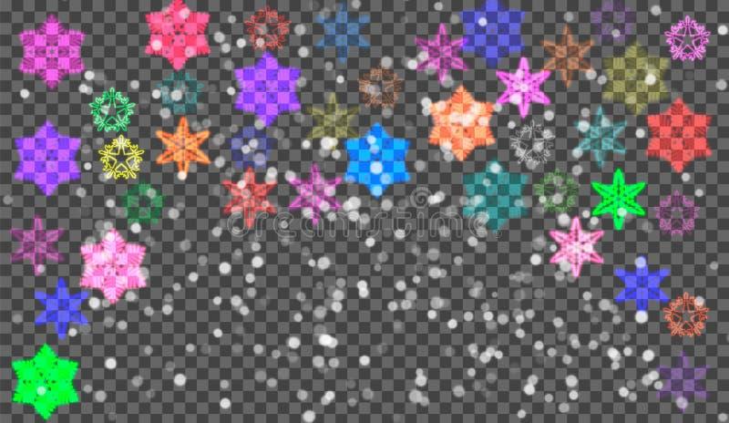Neve do Natal Flocos de neve de queda no fundo escuro snowfall Ilustração do vetor ilustração do vetor