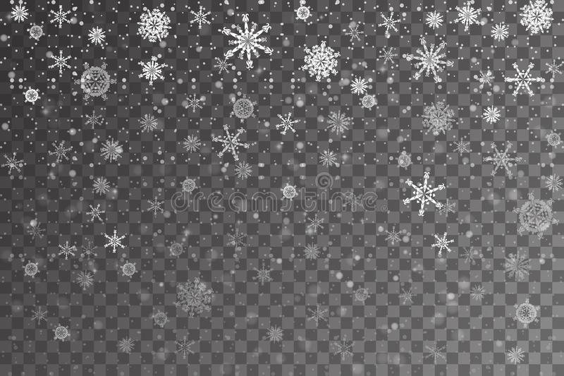 Neve do Natal Flocos de neve de queda no fundo transparente ilustração stock