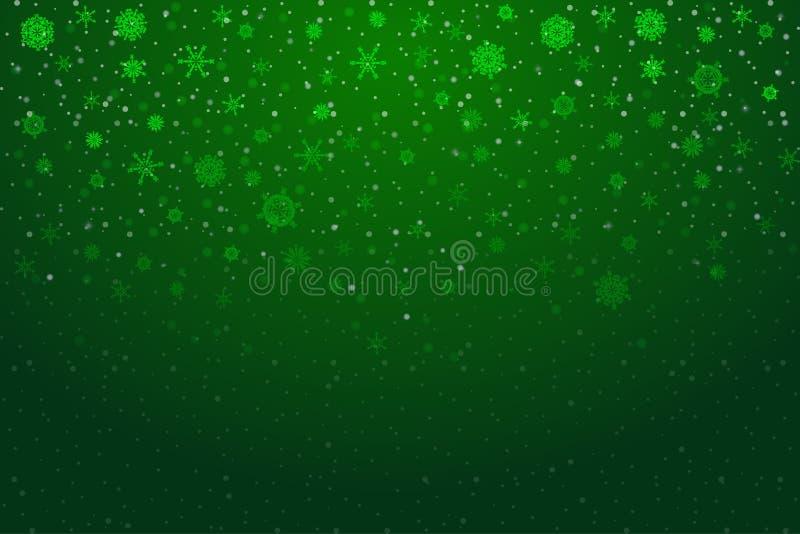 Neve do Natal Flocos de neve de queda no fundo verde-claro ilustração royalty free