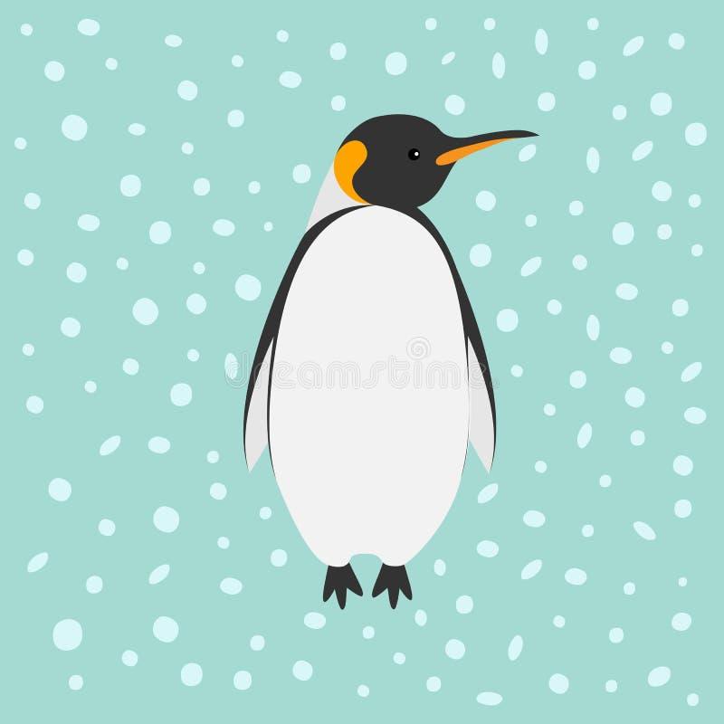 Neve do rei Penguin Emperor Aptenodytes Patagonicus no fundo liso da Antártica do inverno do projeto do céu ilustração do vetor