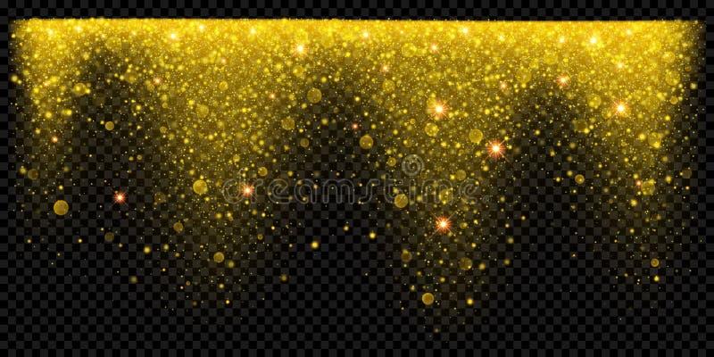 A neve dourada do brilho do feriado do Natal overlay o molde do fundo do efeito de partículas efervescentes do ouro e os confetes ilustração stock
