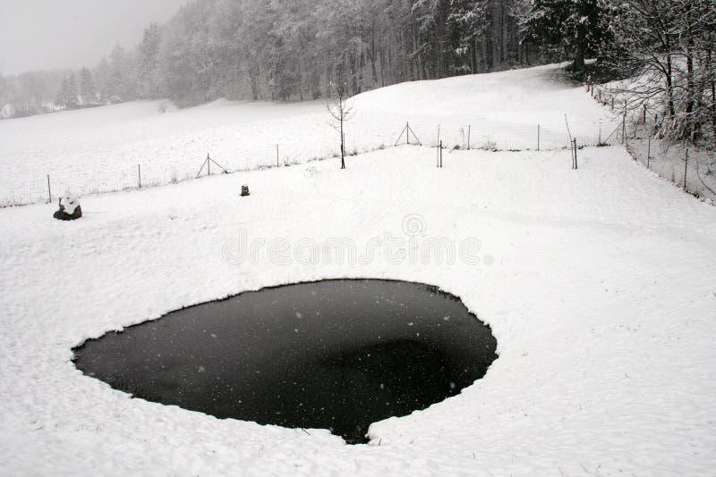 Neve e gelo no lago imagem de stock royalty free