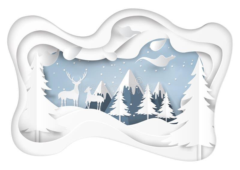 A neve e o inverno temperam com fundo da paisagem da natureza ilustração royalty free
