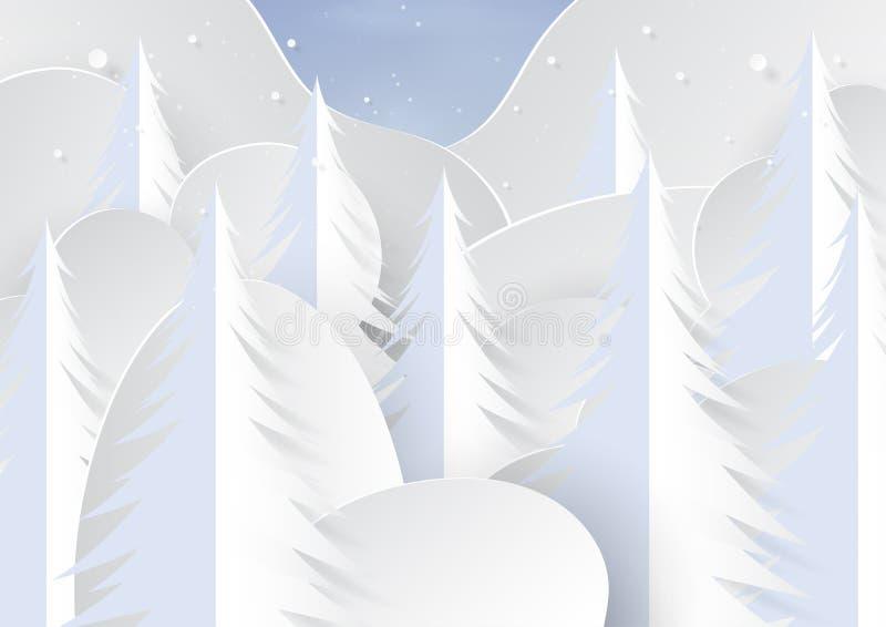 Neve e pini sul fondo del paesaggio di stagione invernale illustrazione vettoriale