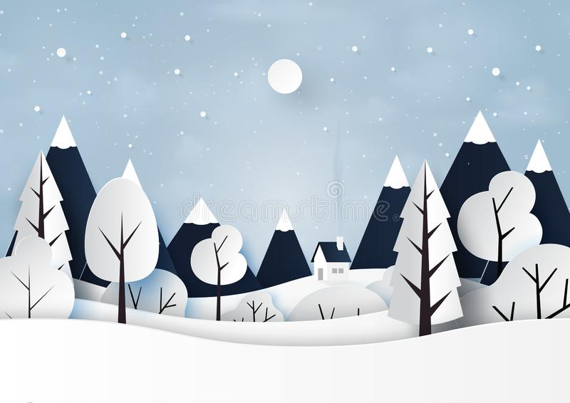 Neve e stile di arte della carta del paesaggio di stagione invernale illustrazione vettoriale