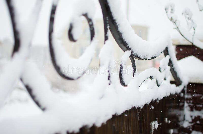 Neve, elementi forgiati nell'inverno immagini stock libere da diritti