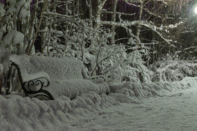 Neve em um banco no parque da noite fotos de stock royalty free