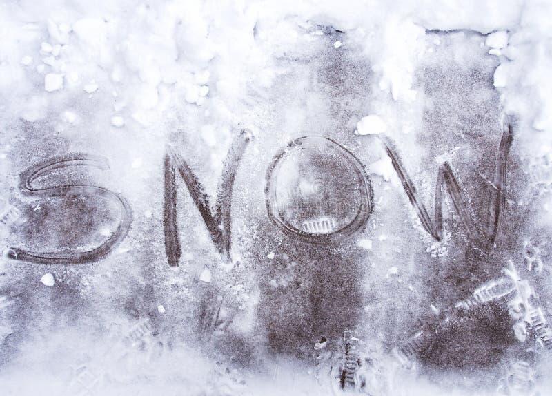 Neve escrita na neve fotografia de stock royalty free