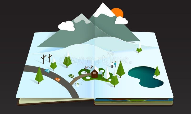Neve a finestra del wintwr della montagna della foresta del libro royalty illustrazione gratis