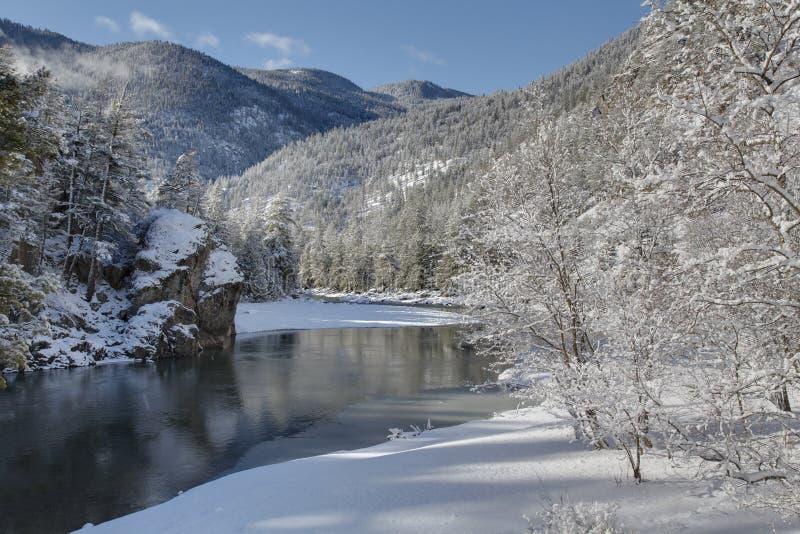 Inverno do rio de Similkameen, Columbia Britânica imagens de stock