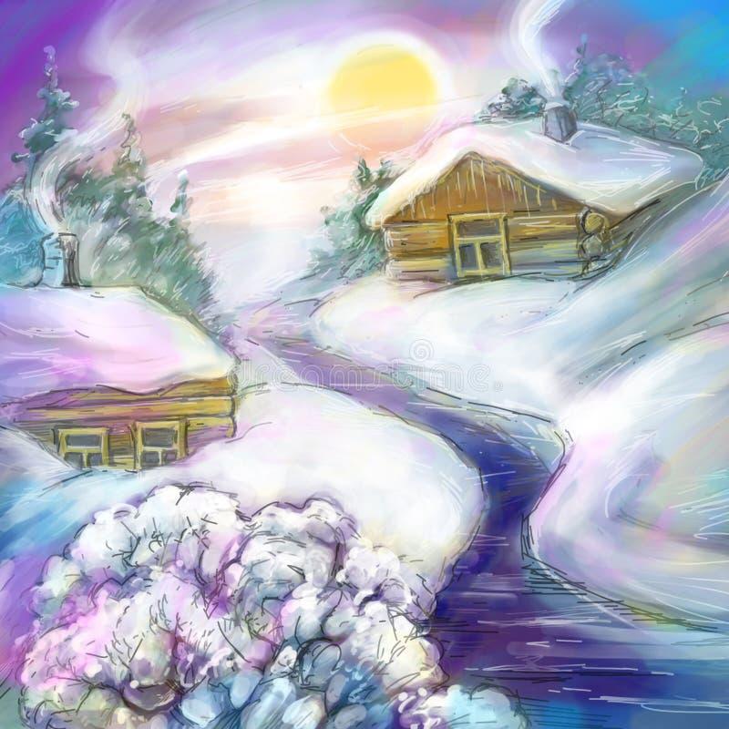 Neve fria do inverno no país do russo imagens de stock