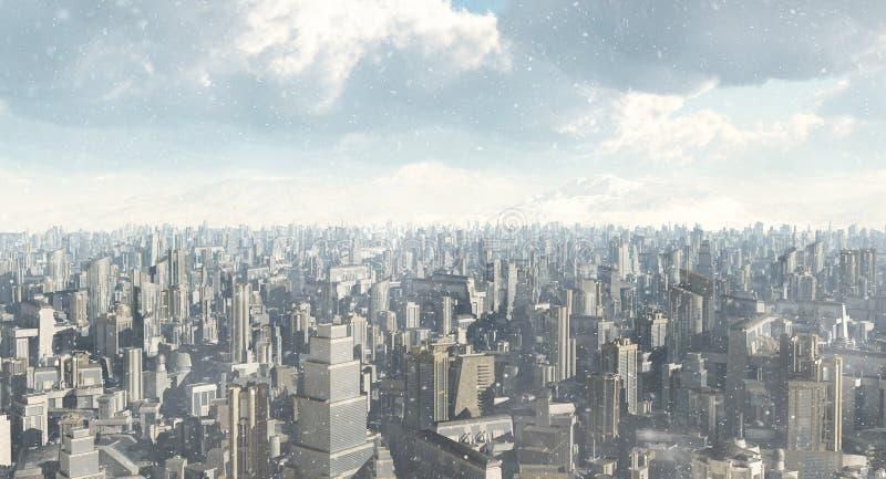 Neve futura da cidade ilustração royalty free