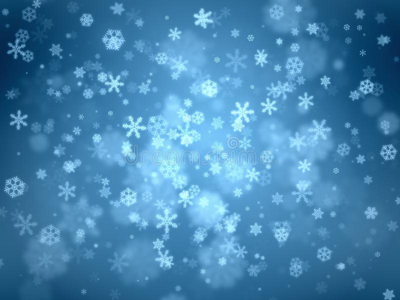 A neve lasca-se vário redemoinho grande e pequeno do tamanho do centro para fora no fundo azul do inclinação foto de stock royalty free