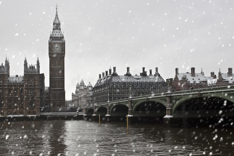 Neve a Londra fotografia stock