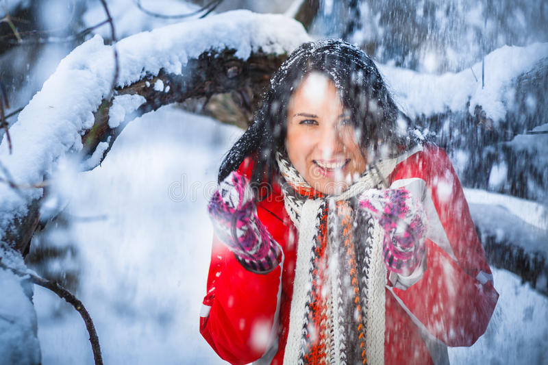 Neve, menina, retrato fotos de stock royalty free