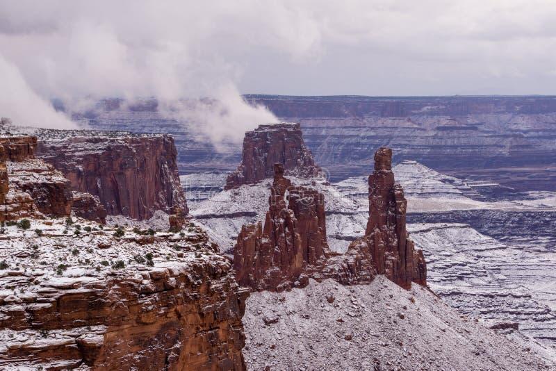 Neve in Moab, Utah fotografie stock libere da diritti