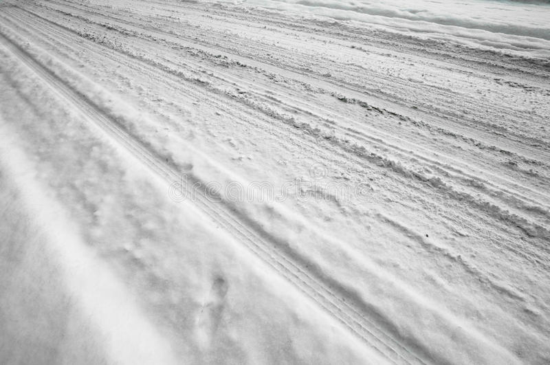 Neve na estrada fotografia de stock royalty free