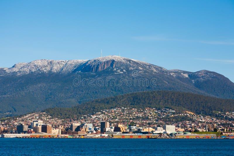 Neve na montagem Wellington, Tasmânia fotografia de stock
