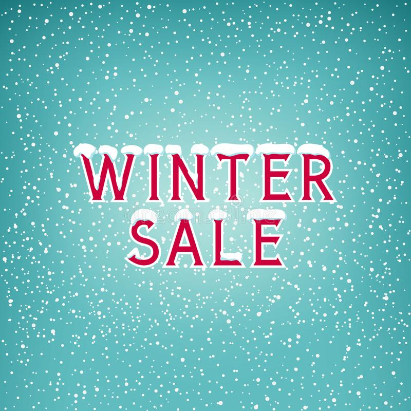 Neve na venda do inverno das letras ilustração do vetor