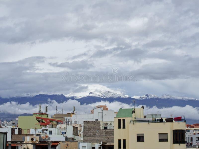 Neve nas Ilhas Can?rias, Tenerife, Espanha imagens de stock