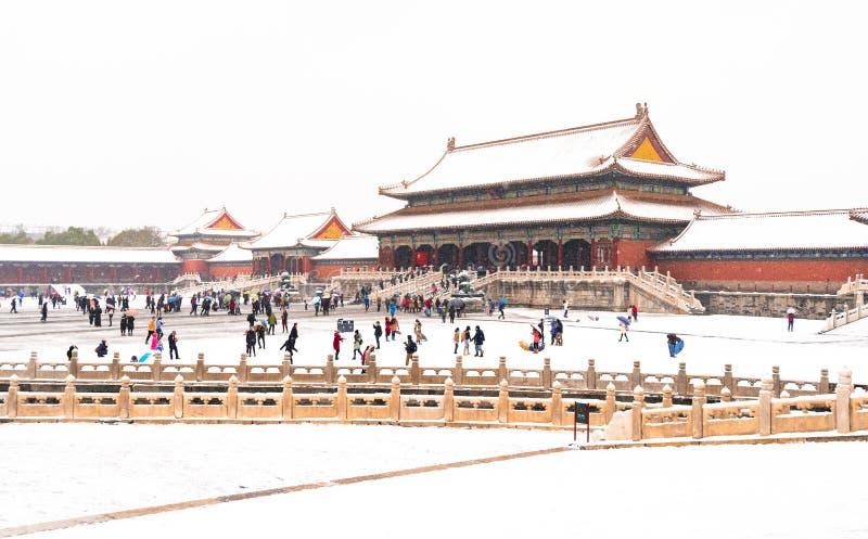 A neve no cenário da Cidade Proibida foto de stock