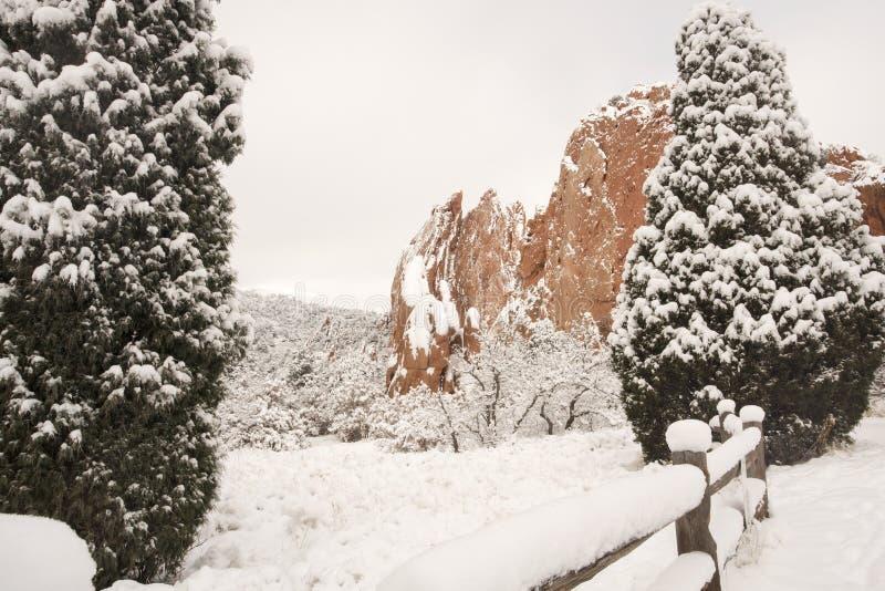 Neve no jardim dos deuses imagens de stock