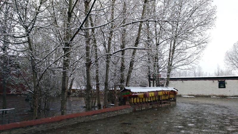 Neve no monast?rio de Gyantse imagem de stock royalty free