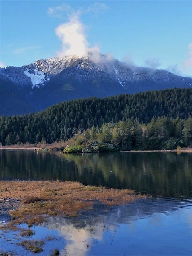Neve nova do inverno na montanha perto do lago do pitt imagens de stock royalty free