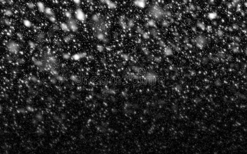 Neve que cai no fundo preto para a estação e o Natal do inverno fotos de stock royalty free