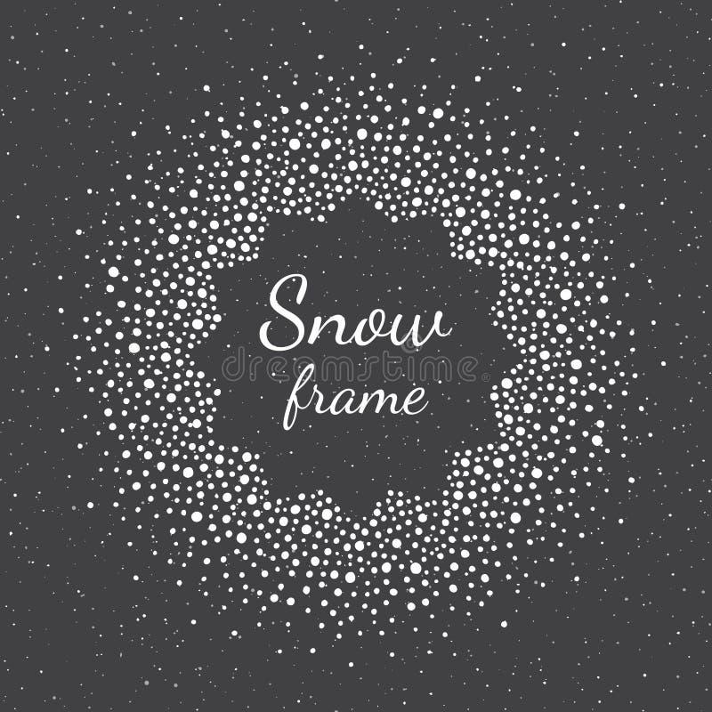Neve redonda, quadro com pontos, textura dos flocos de neve do pulverizador ilustração do vetor