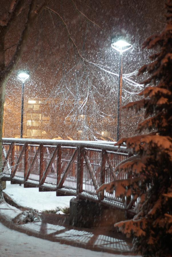 Neve sopra un ponte del piede fotografia stock libera da diritti