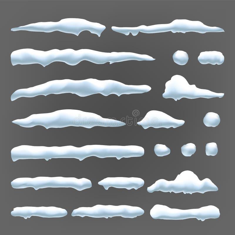 A neve tampa o vetor Decoração do inverno da bola de neve e do monte de neve Ilustração isolada efeito congelada ilustração royalty free
