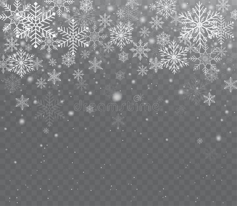 Neve trasparente brillante di caduta Neve di Natale con i fiocchi di neve illustrazione di stock