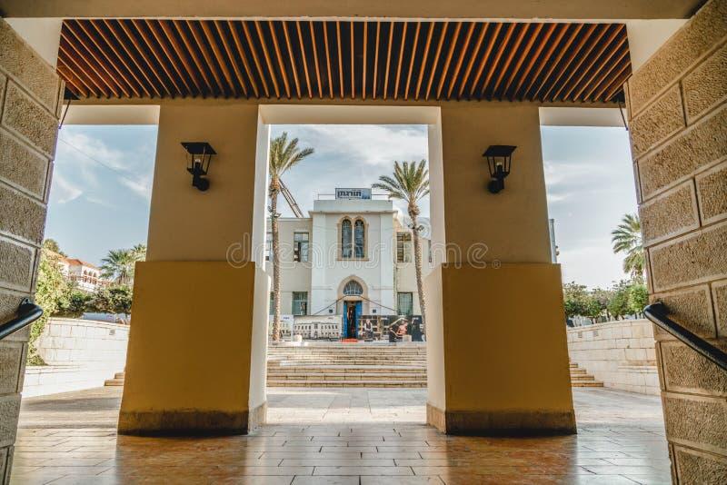 Neve-Tzedek byggnader i Tel Aviv Jaffa Gammalt ställe för turism stads- stad arkivbilder