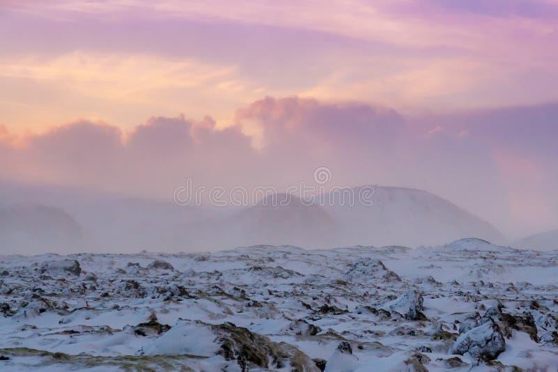 Neve ventosa e coperta del bello paesaggio di inverno in Islanda immagini stock libere da diritti